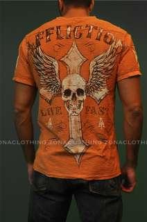 Affliction Live Fast Henley Tee T Shirt Bright Orange MMA NWT