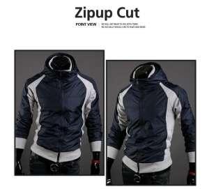 Fashion Korean Vision Hit Color Casual Hooded Jacket Dark Blue 2987