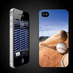 Baseball Theme iPhone Hard Case Bat & Ball on Field