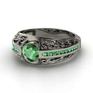 Vintage Romance Ring, Round Emerald Platinum Ring Jewelry