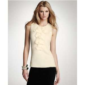 ann taylor womens silk twill ruffle front top