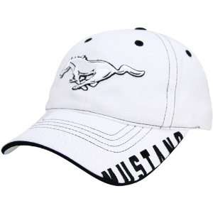 Carl Edwards White Ford Mustang Adjustable Hat Sports