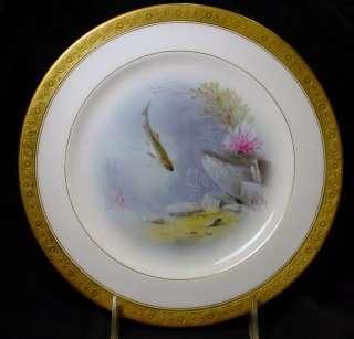 Antique Minton Albert H Wright Fish Plates EXQUISITE