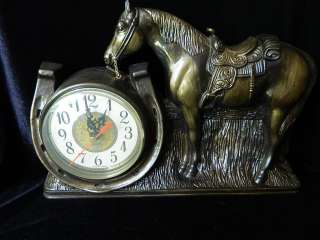 Vintage Wall or Mantel Clock Horse and lucky Horseshoe Battery Powered