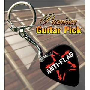 Anti Flag Logo Premium Guitar Pick Keyring: Musical