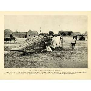 1925 Print Boat Priogue Belgian Congo French Wood Village Donkey