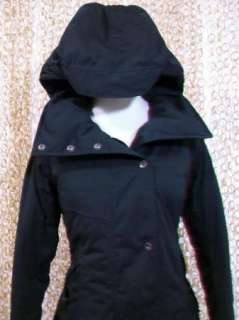 NAU Womens Gorgeous Black Splendor Trench Coat Goose Down Jacket S NEW