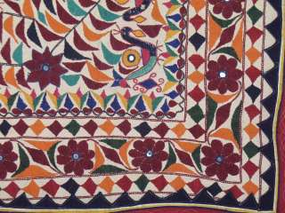 Vintage Hand Embroidered Tapestry Textile Kutch Mirror Work Home Wall