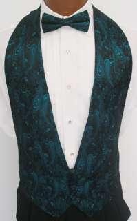 Teal Sparkle Paisley Tuxedo Vest / Tie Prom Formal