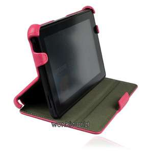 Kindle Fire Pink Leather Case Cover With Multi Angle Stand