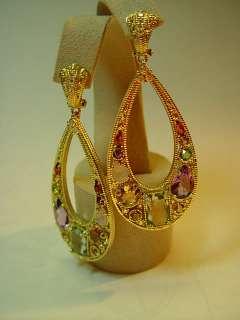 JUDITH RIPKA 18k. Yellow Gold & Diamond Earrings