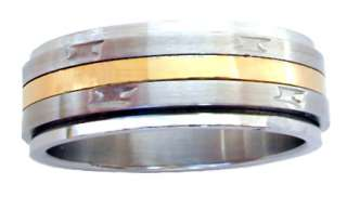 CLEARANCE Gold Center Steel Spinner Ring Szs 8 12