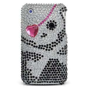 Diva Sparkling Pink Heart Black Skull Diamond Full
