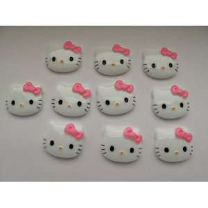 Resin Cabochon Flat Back Kitty Cat Pink Bow Cellphones 27mm*22mm* 5mm