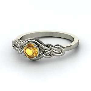 Sailors Knot Ring, Round Citrine Sterling Silver Ring