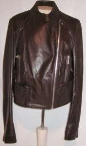 NEW ANDREW MARC LEATHER JACKET CHOCOLATE BUTTER SOFT BOMBER SIZE LARGE