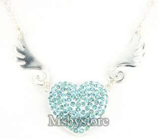8GB Mini Crystal Angel Heart Necklace USB 2.0 Flash Drive   Blue