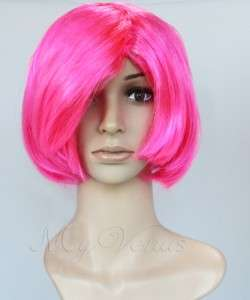 Short Bob Wig Long Side Bang Bob Style Wig HOT PINK Synthetic Hair