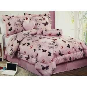 6 pc modern, girls, children, pink butterfly, comforter
