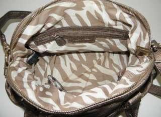 NEW A/K ANNE KLEIN TRINITY METALLIC BRONZE GOLD SATCHEL BAG