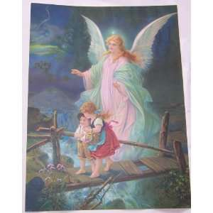 Vintage Inspirational Guardian Angel with Children Bridge