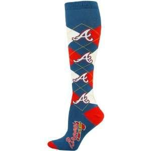 Atlanta Braves Ladies Navy Blue Scarlet Argyle Tall Socks