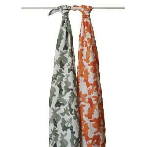 Anais Muslin Baby Wraps 2 Pack Green Orange Camo Swaddle Blanket: Baby