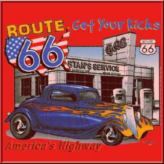 Rt 66 Kicks Hot Rods Antique Cars T Shirt KIDS S,M,L