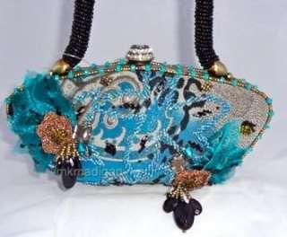 Mary Frances New Uncaged Blue Gray Teal Black Evening Bag Handbag