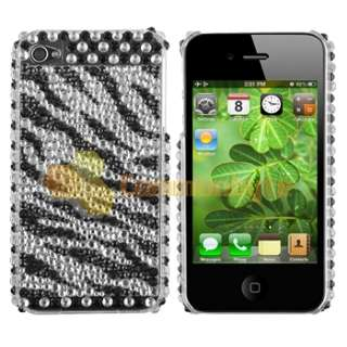 8in1 Bling Sparkle Case Cover Screen Guard For iPhone 4