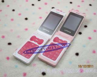 NEW CUTE K2 HELLO KITTY FLIP CELL PHONE PINK WHITE UNLOCKED TWO SCREEN