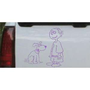 Purple 22in X 22.0in    Child With Dog Stick Family Car Window Wall