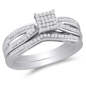 Size 12   10K White Gold Diamond Ladies Bridal Engagement