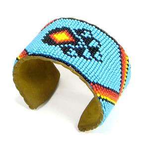 TURQUOISE BLUE BLACK FIRE COLOR BEAR PAW NAVAJO CUFF BRACELET LEATHER
