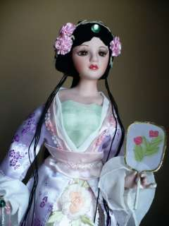 NEW 16 IN.PORCELAIN DOLLASIAJAPANESE ASIAN DOLL BLACK