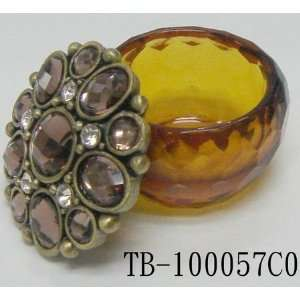 Amber Faceted Glass Jewelry Trinket Box With Stones and