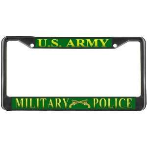 US UNITED STATES ARMY MILITARY POLICE Black Metal License Plate Frame