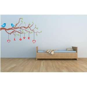 Removable Wall Decals  Bird in Tree with Love Hanging