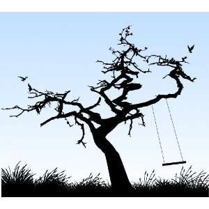 Removable Wall Decals  Birds in Tree with Swing