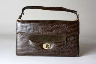 Vtg 70s Embossed Leather Attache Case Purse Bag Tablet