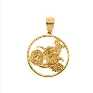 14kt Yellow Gold Dirt Bike Pendant Jewelry