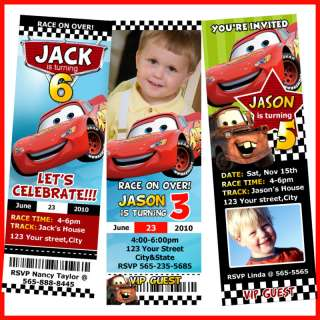 DISNEY CARS MCQUEEN TICKET BIRTHDAY PARTY INVITATION
