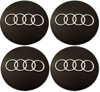AUDI BLACK & CHROME RINGS WHEEL CENTER CAPS 60mm RS4 S4