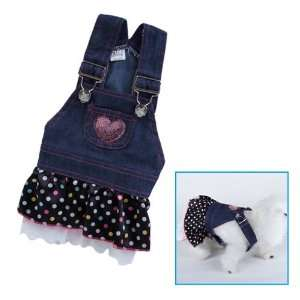 Pet Dog Apparel Clothes Costume Dress Denim Skirt M: Pet Supplies