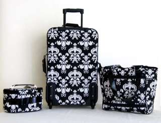 Carry On 3 Piece Travel Set Bag Rolling Wheel Luggage Beauty Case
