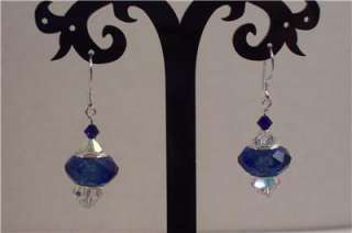 Colbalt Glass Charm and Swarovski Crystal Sterling Silver Earrings