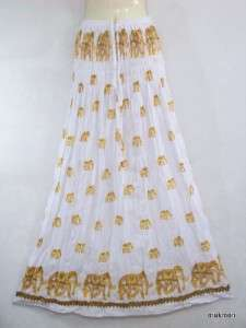 New Elephant Casual Cocktail Long Skirt & Maxi Dress 2 in 1 White,Free