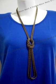 Burnish Tone Knot Style Metal Snake Chain Fashion Women Long Necklace