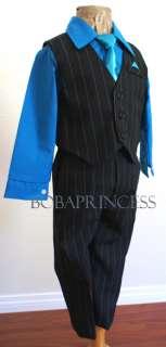 NEW TODDLER BOY (Sz 5) 4 PCS SUIT SET BLACK PINSTRIPE/Turquoise SHIRT