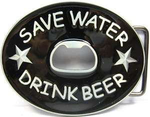 SAVE WATER DRINK BEER BELT BUCKLE BOTTLE OPENER B24